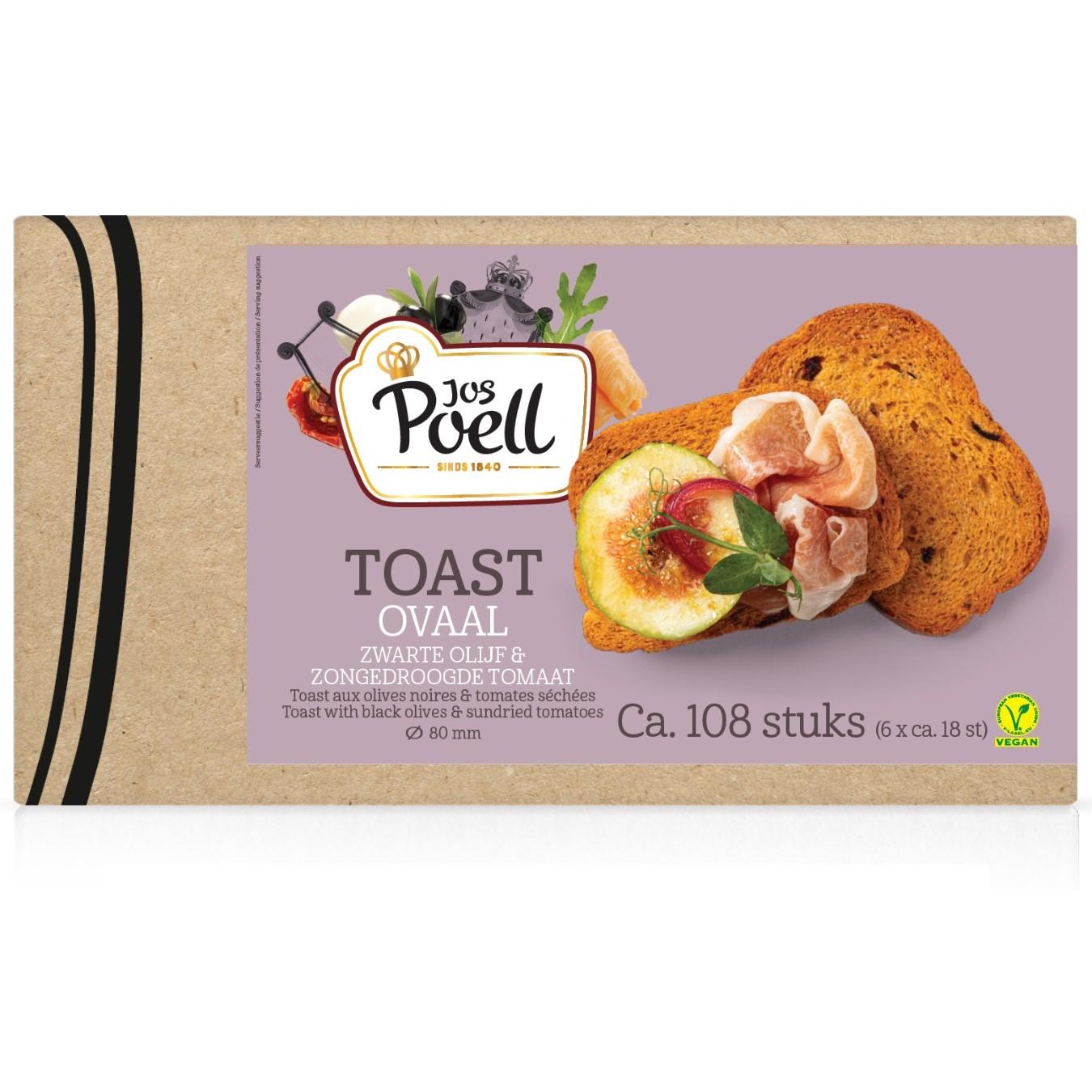 Toast – Horeca Toast ovaal zwarte olijf & zongedroogde tomaat 108 stuks