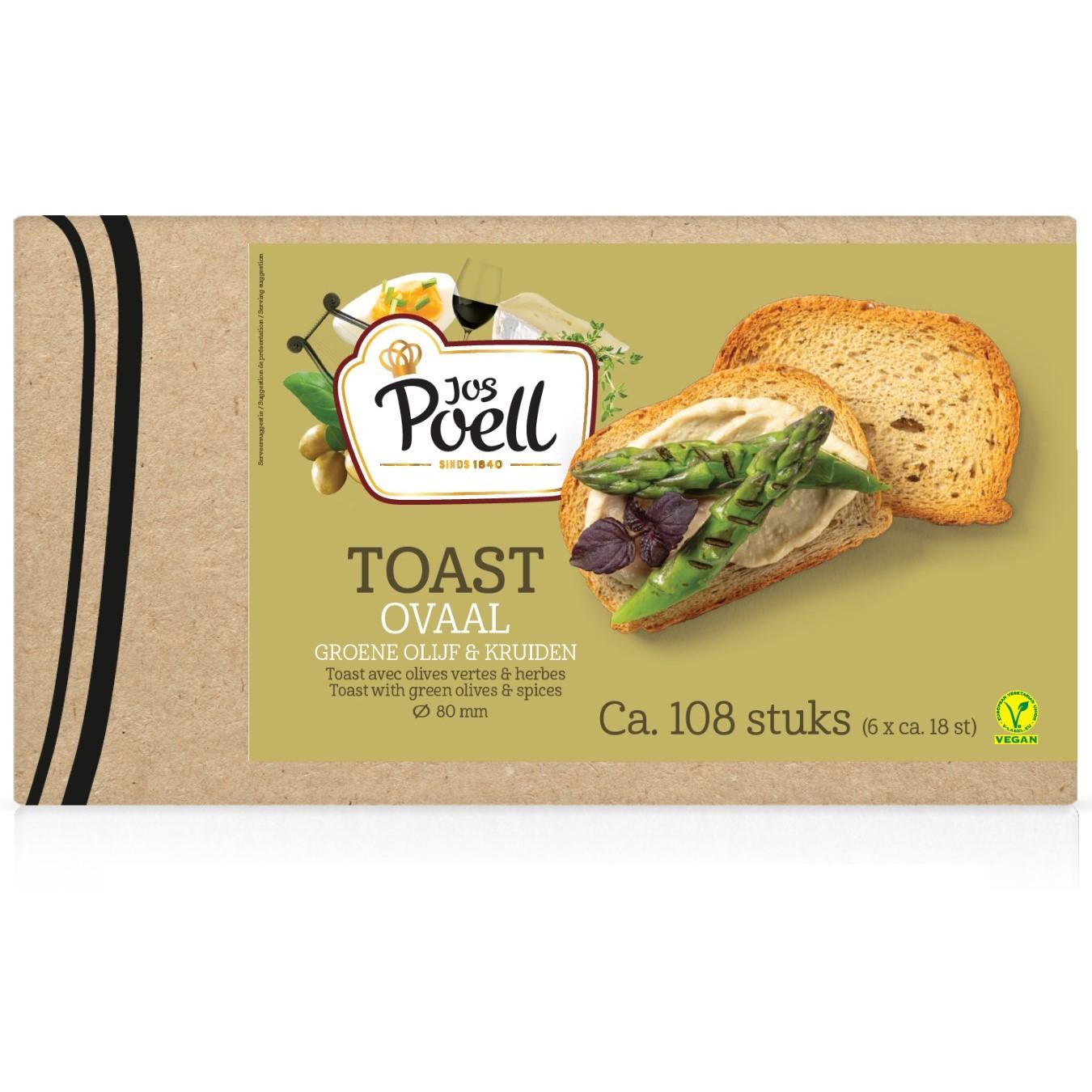 Toast – Horeca Toast ovaal groene olijf & kruiden 108 stuks