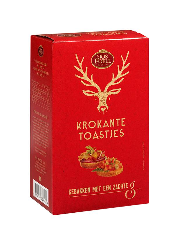 Krokant toast rood/beige